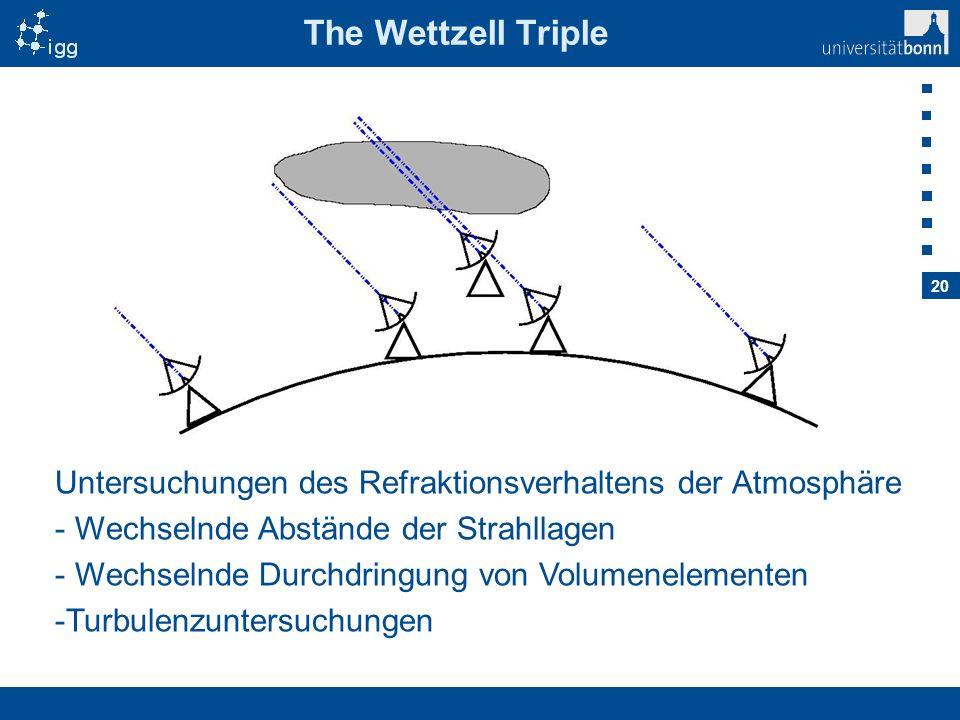The Wettzell Triple Untersuchungen des Refraktionsverhaltens der Atmosphäre. Wechselnde Abstände der Strahllagen.