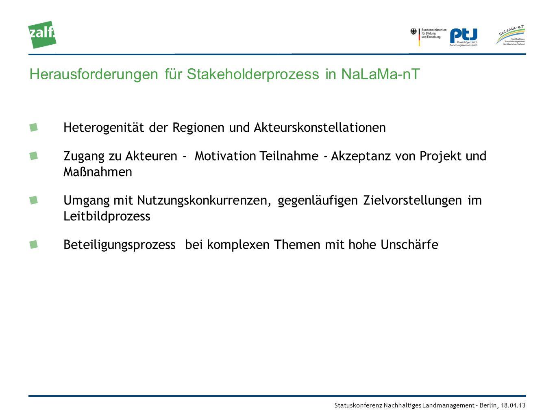 Herausforderungen für Stakeholderprozess in NaLaMa-nT