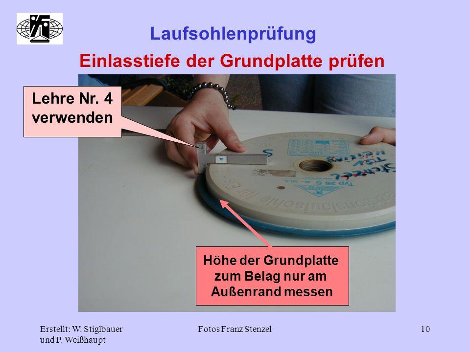Einlasstiefe der Grundplatte prüfen