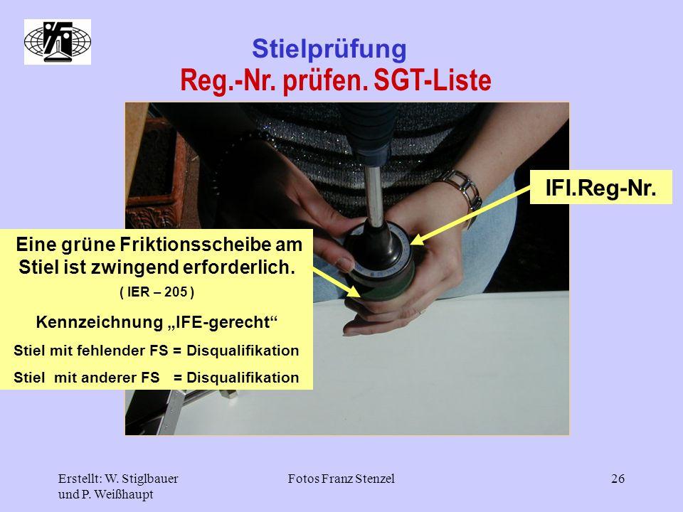 Reg.-Nr. prüfen. SGT-Liste