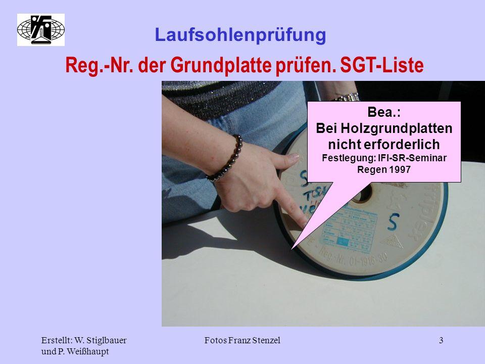 Reg.-Nr. der Grundplatte prüfen. SGT-Liste