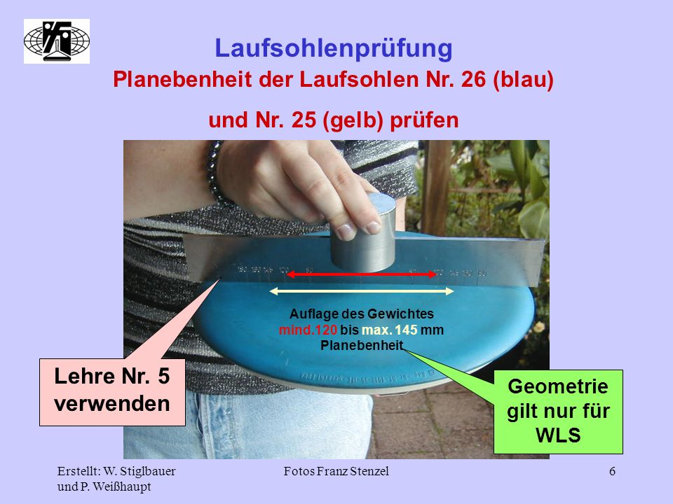 Planebenheit der Laufsohlen Nr. 26 (blau) Geometrie gilt nur für WLS