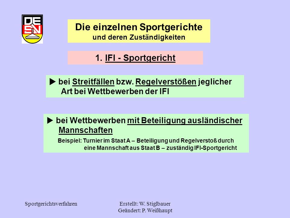Die einzelnen Sportgerichte und deren Zuständigkeiten