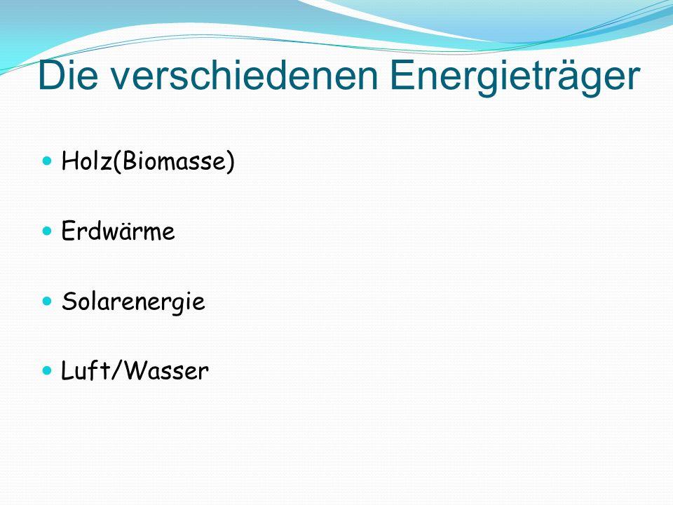 Die verschiedenen Energieträger