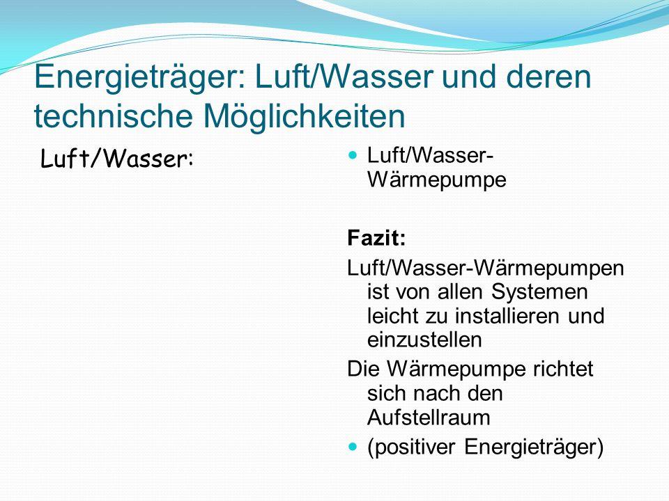 Energieträger: Luft/Wasser und deren technische Möglichkeiten