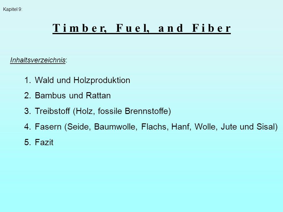 T i m b e r, F u e l, a n d F i b e r Wald und Holzproduktion