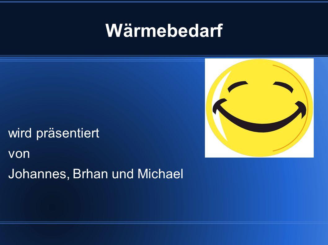 Wärmebedarf wird präsentiert von Johannes, Brhan und Michael