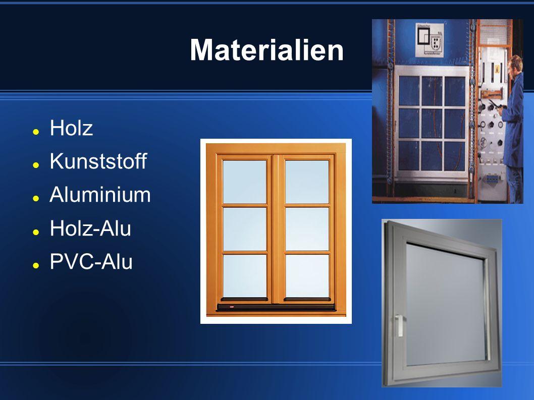 Materialien Holz Kunststoff Aluminium Holz-Alu PVC-Alu