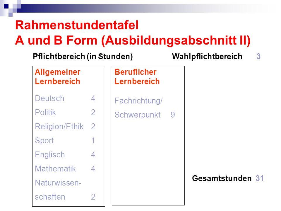 Rahmenstundentafel A und B Form (Ausbildungsabschnitt II)