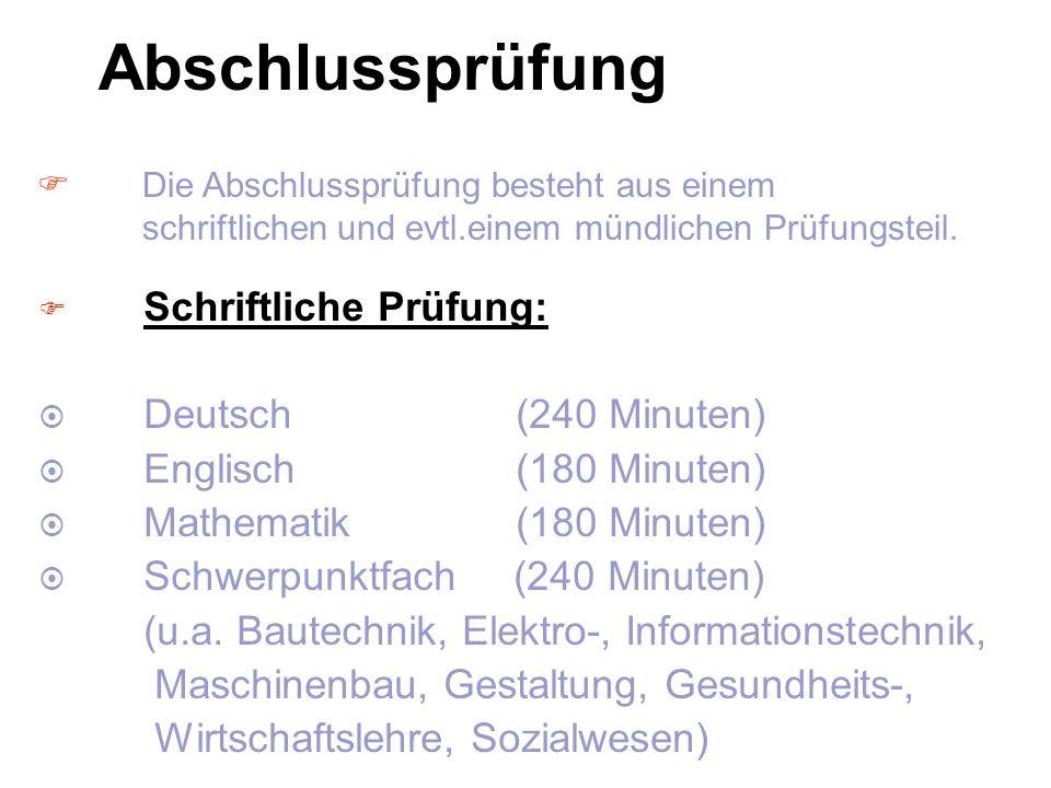 Abschlussprüfung Schriftliche Prüfung: Deutsch (240 Minuten)