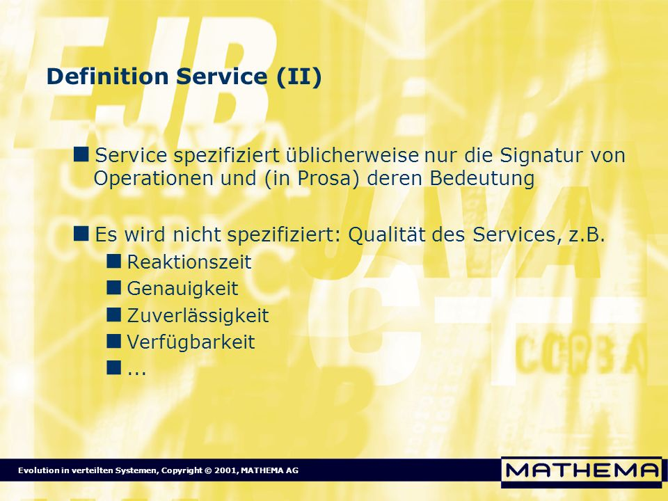 Definition Service (II)