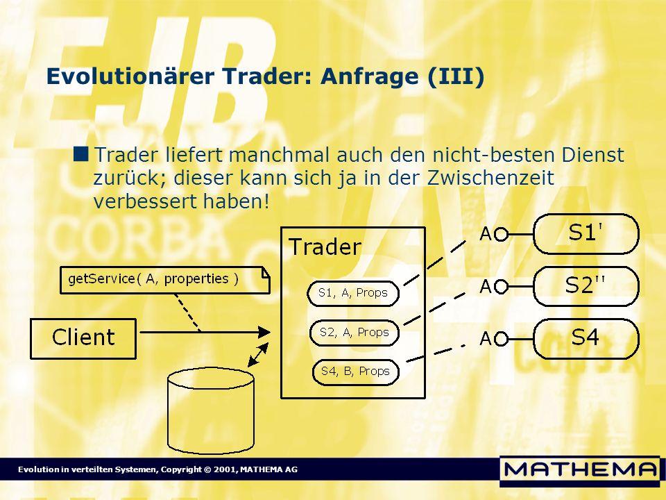 Evolutionärer Trader: Anfrage (III)