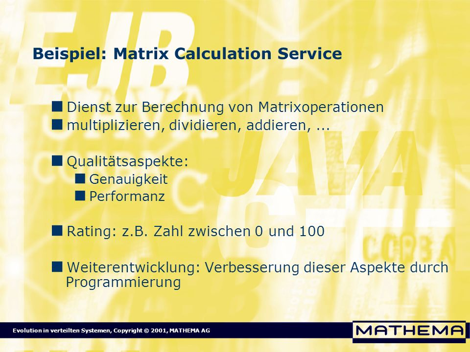 Beispiel: Matrix Calculation Service