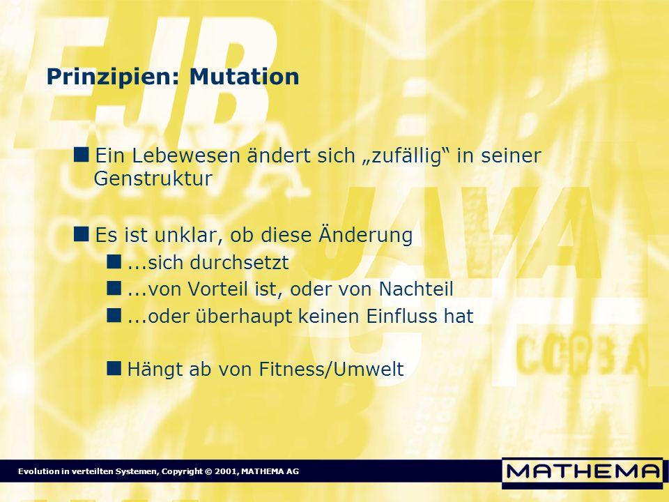 """Prinzipien: Mutation Ein Lebewesen ändert sich """"zufällig in seiner Genstruktur. Es ist unklar, ob diese Änderung."""