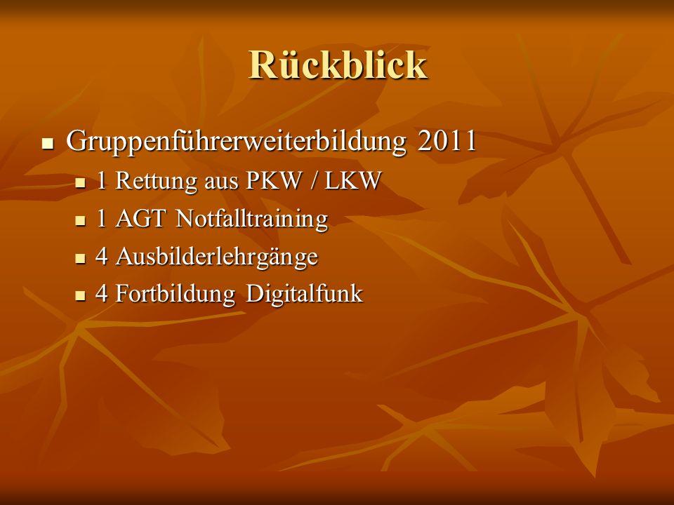 Rückblick Gruppenführerweiterbildung 2011 1 Rettung aus PKW / LKW