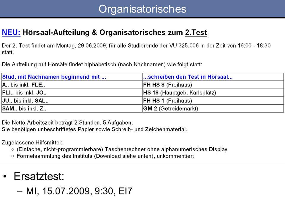 Organisatorisches Ersatztest: MI, 15.07.2009, 9:30, EI7