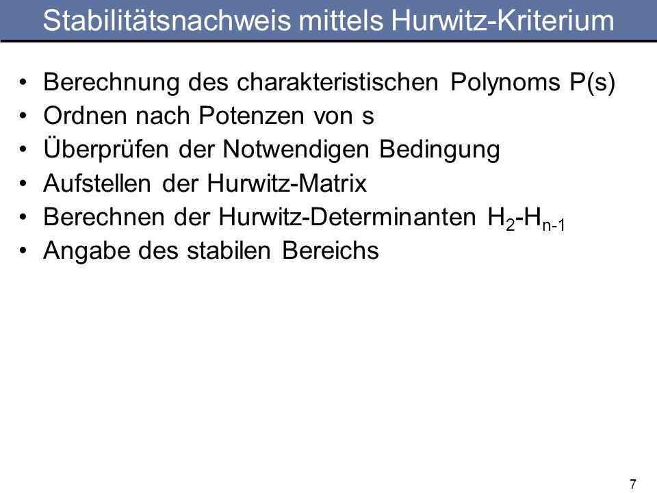 Stabilitätsnachweis mittels Hurwitz-Kriterium