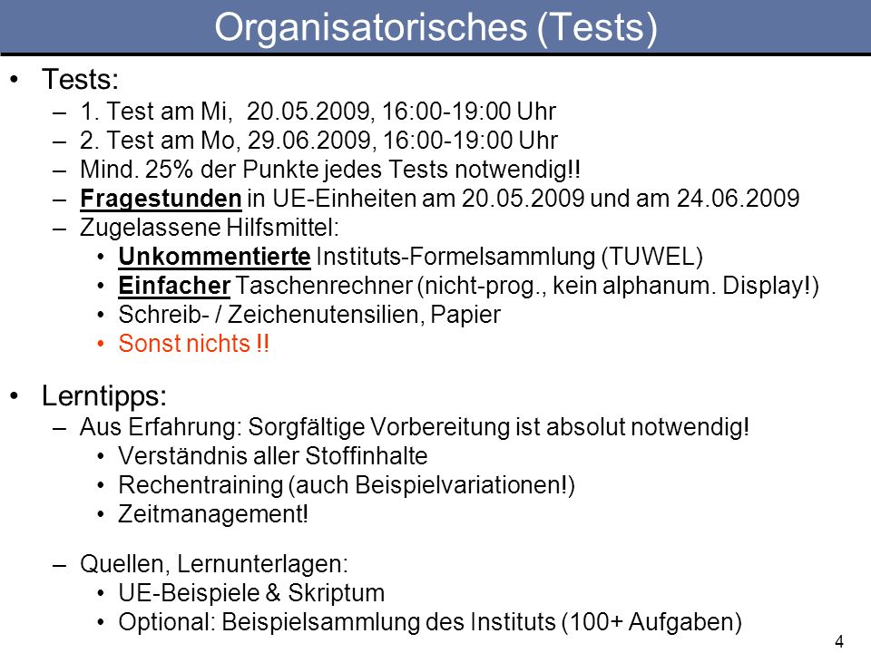 Organisatorisches (Tests)