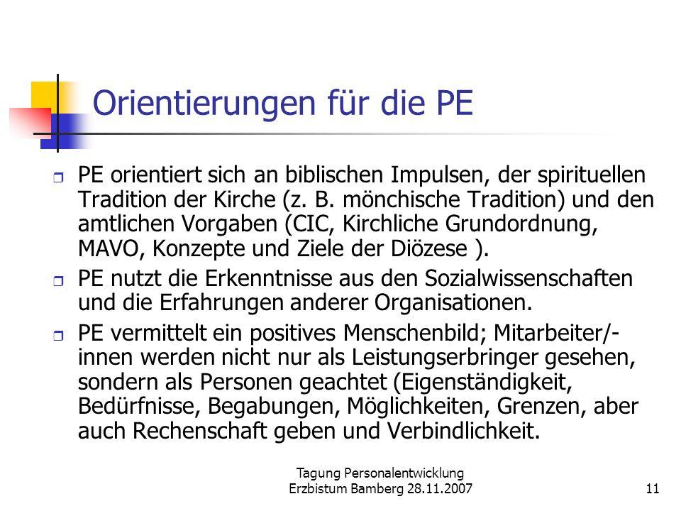 Orientierungen für die PE