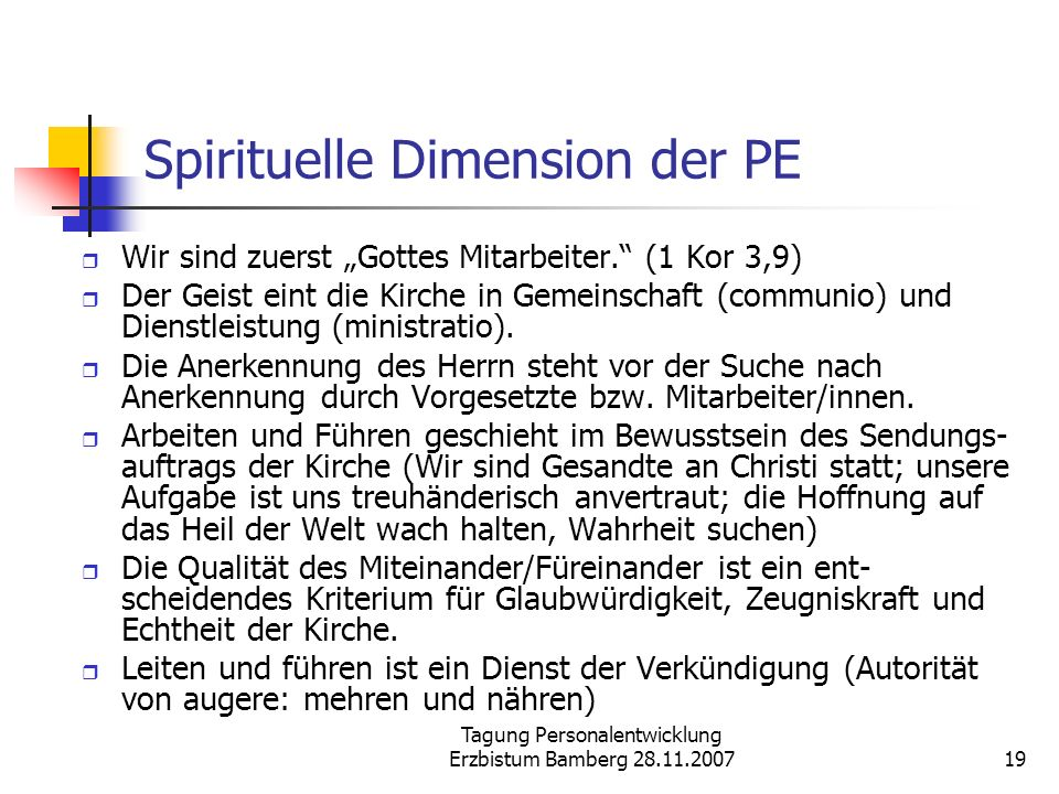 Spirituelle Dimension der PE