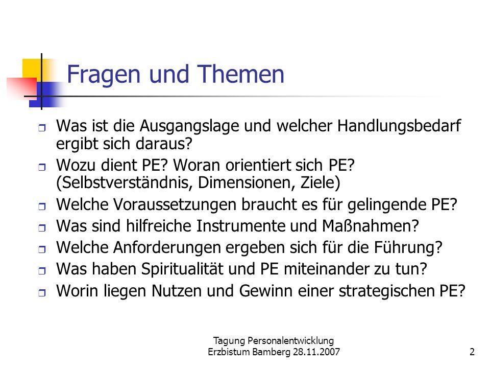 Tagung Personalentwicklung Erzbistum Bamberg 28.11.2007