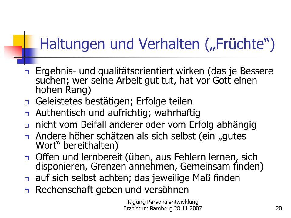 """Haltungen und Verhalten (""""Früchte )"""