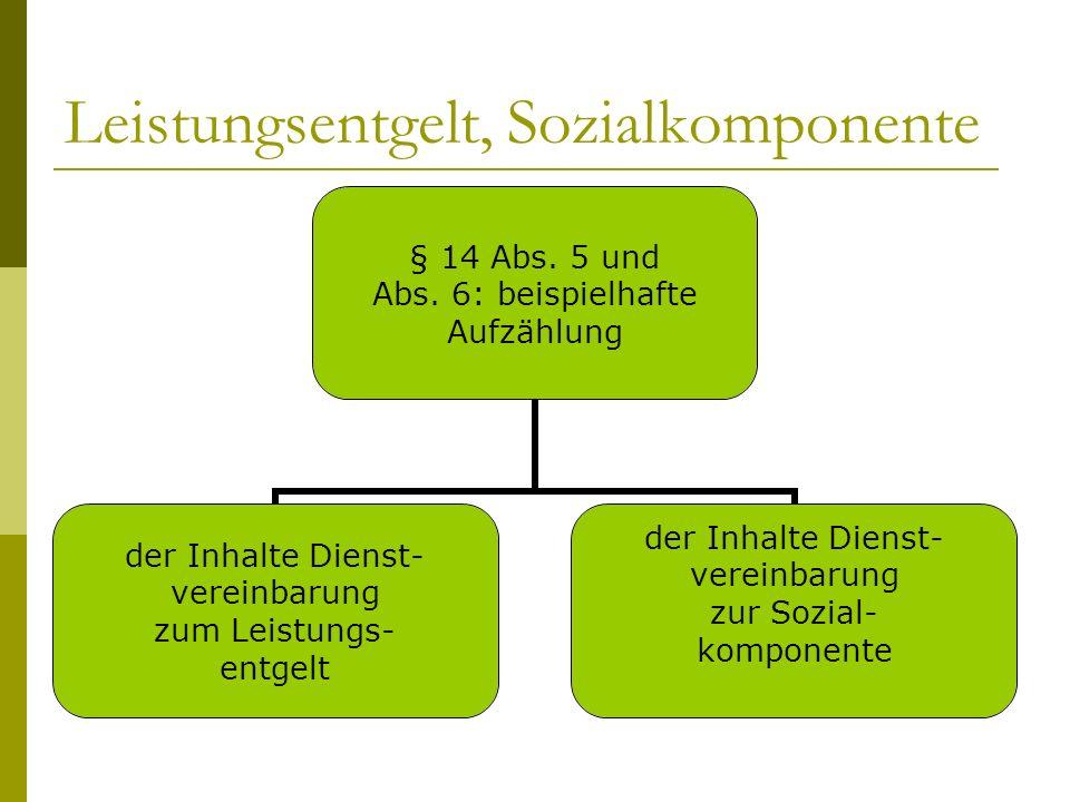 Leistungsentgelt, Sozialkomponente