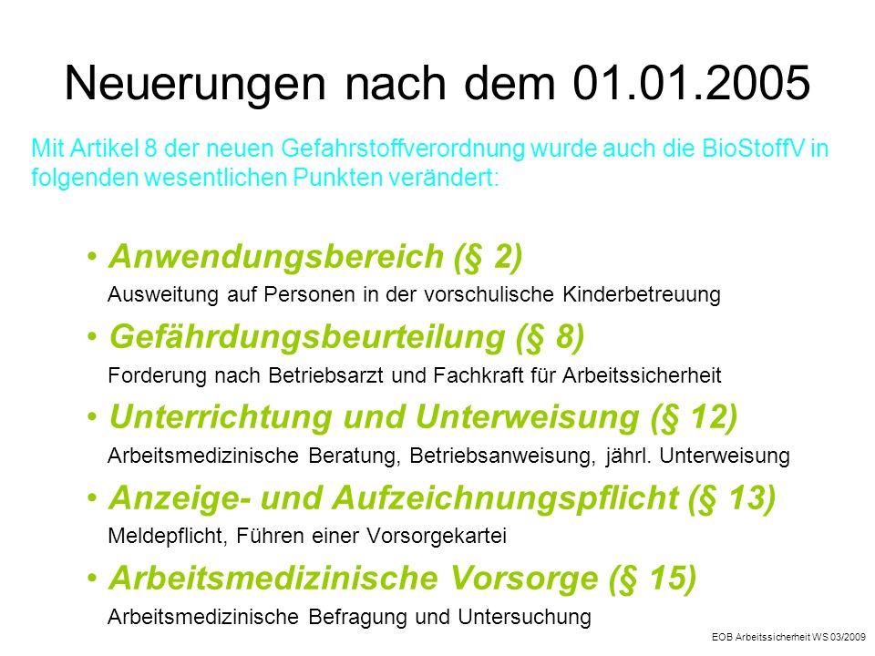 Neuerungen nach dem 01.01.2005 Anwendungsbereich (§ 2)