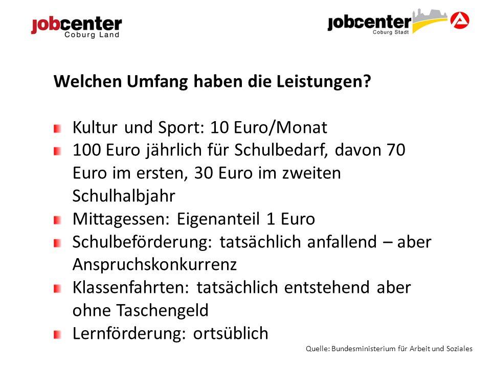 Welchen Umfang haben die Leistungen Kultur und Sport: 10 Euro/Monat