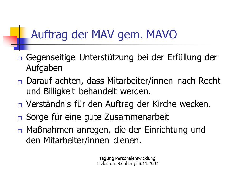 Auftrag der MAV gem. MAVO
