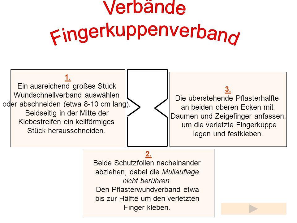 Verbände Fingerkuppenverband 1. Ein ausreichend großes Stück 3.