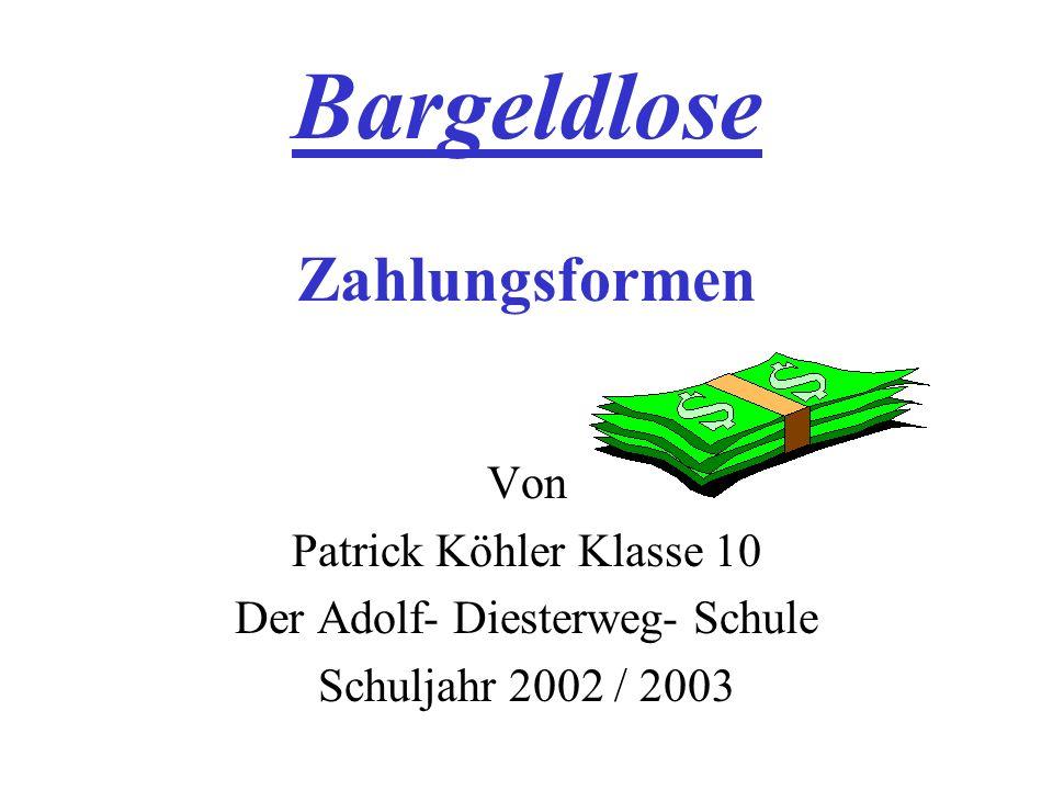 Bargeldlose Zahlungsformen