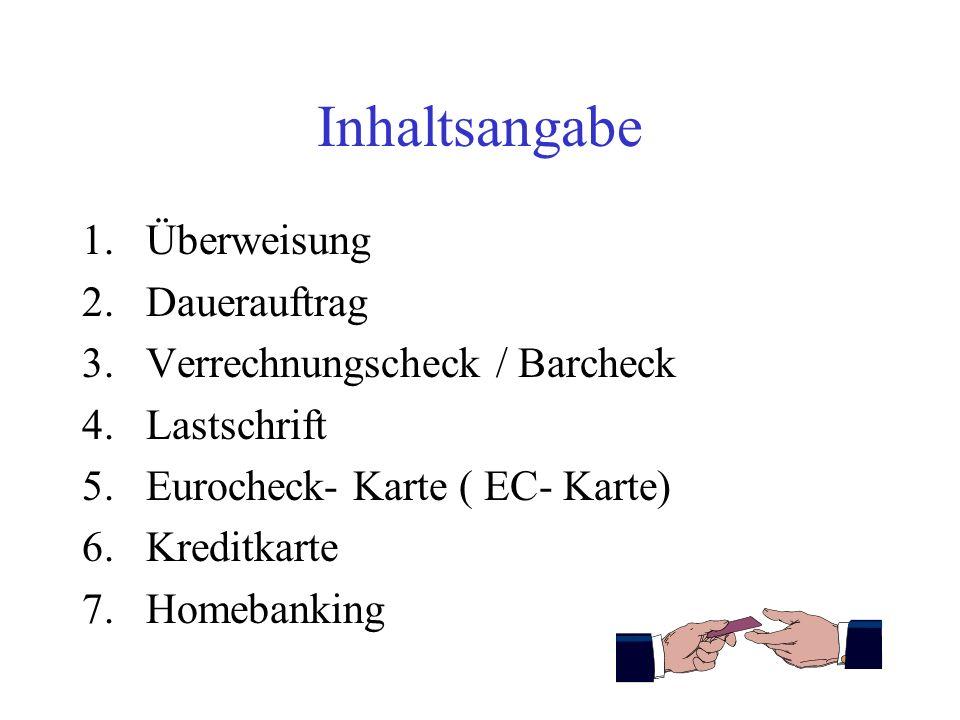 Inhaltsangabe Überweisung Dauerauftrag Verrechnungscheck / Barcheck