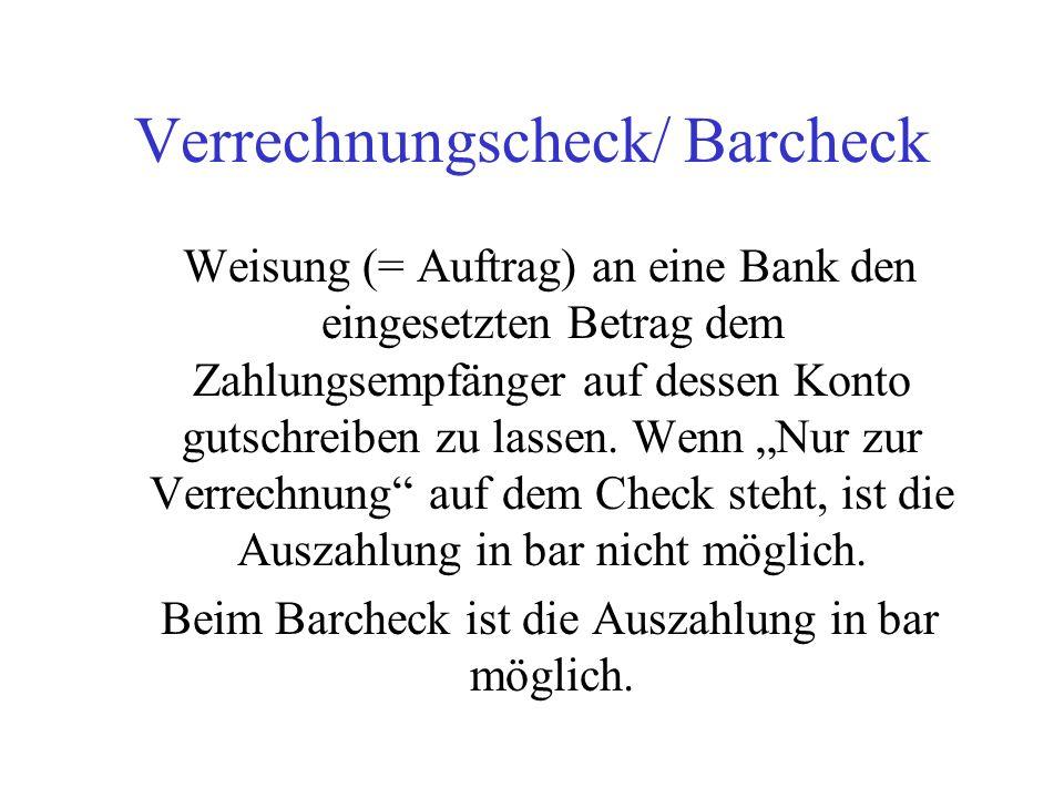 Verrechnungscheck/ Barcheck