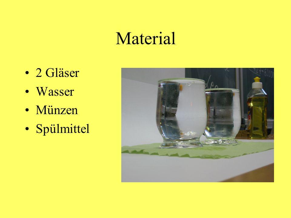 Material 2 Gläser Wasser Münzen Spülmittel