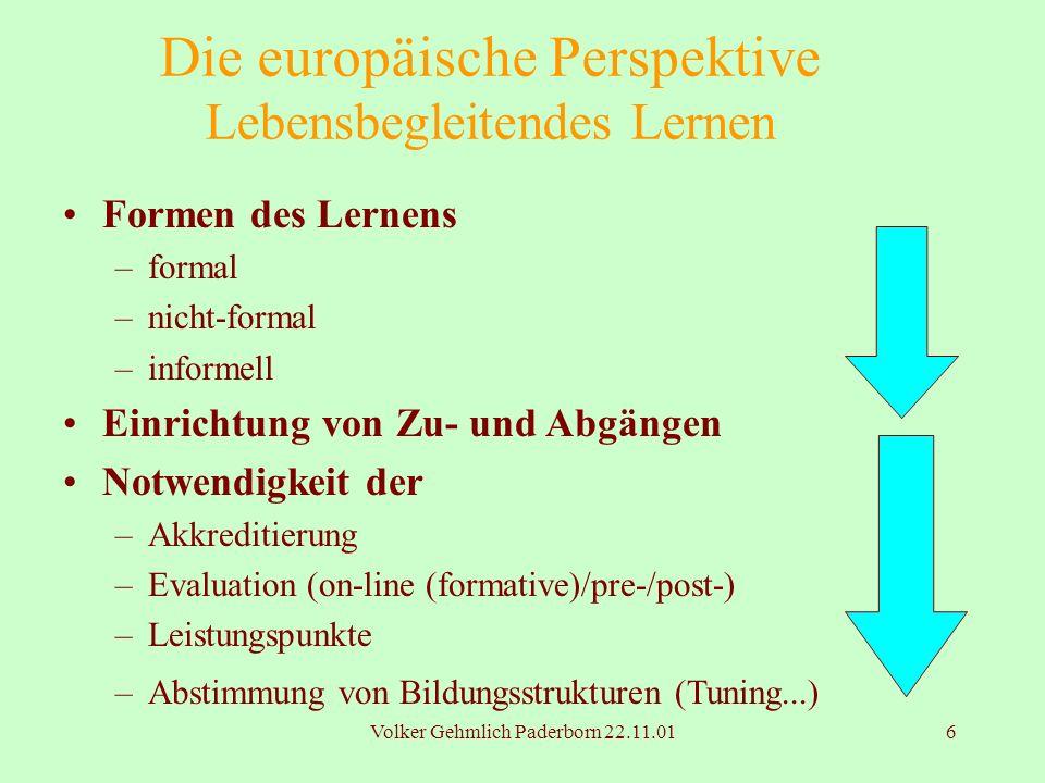 Die europäische Perspektive Lebensbegleitendes Lernen