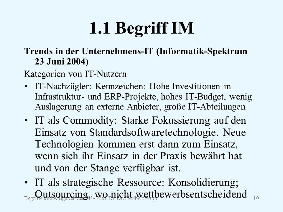 1.1 Begriff IM Trends in der Unternehmens-IT (Informatik-Spektrum 23 Juni 2004) Kategorien von IT-Nutzern.