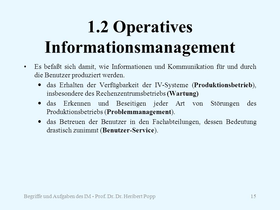 1.2 Operatives Informationsmanagement