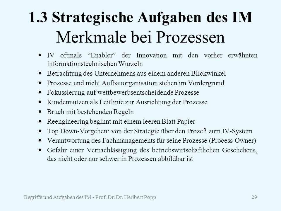1.3 Strategische Aufgaben des IM Merkmale bei Prozessen