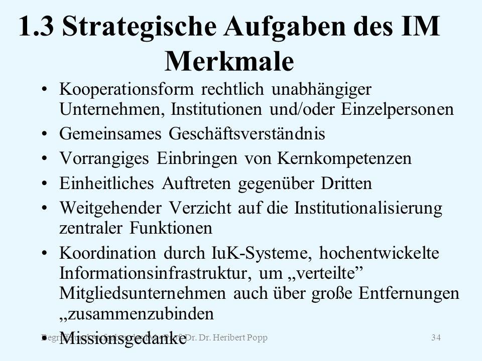1.3 Strategische Aufgaben des IM Merkmale