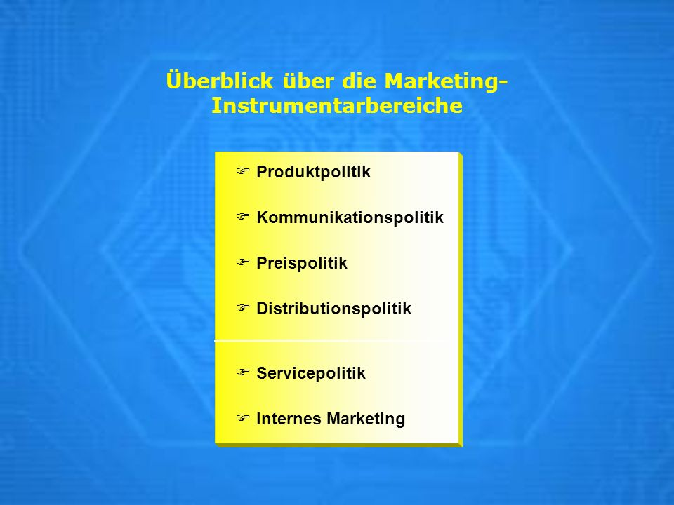 Überblick über die Marketing-Instrumentarbereiche