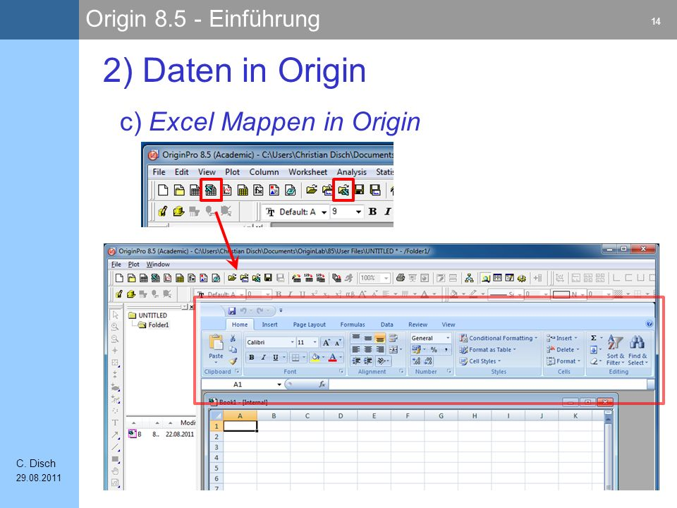 2) Daten in Origin c) Excel Mappen in Origin