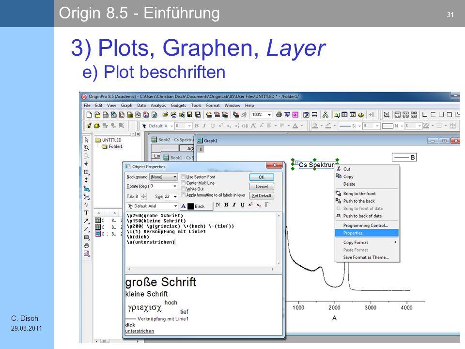 3) Plots, Graphen, Layer e) Plot beschriften