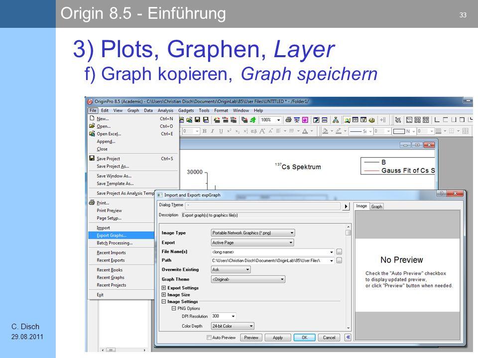 3) Plots, Graphen, Layer f) Graph kopieren, Graph speichern