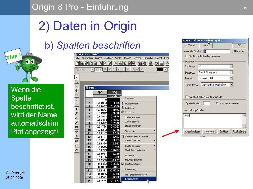 2) Daten in Origin b) Spalten beschriften
