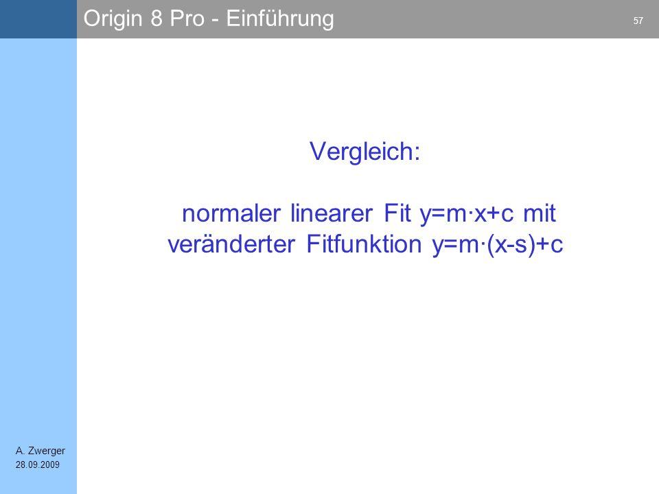 Vergleich: normaler linearer Fit y=m·x+c mit veränderter Fitfunktion y=m·(x-s)+c