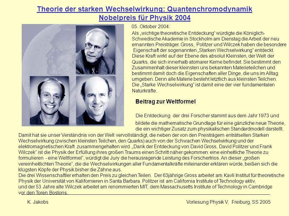 Theorie der starken Wechselwirkung: Quantenchromodynamik Nobelpreis für Physik 2004