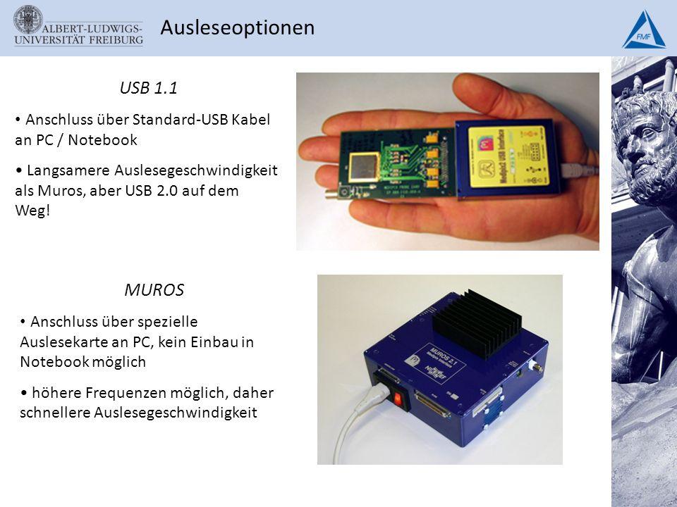 Ausleseoptionen USB 1.1. Anschluss über Standard-USB Kabel an PC / Notebook.