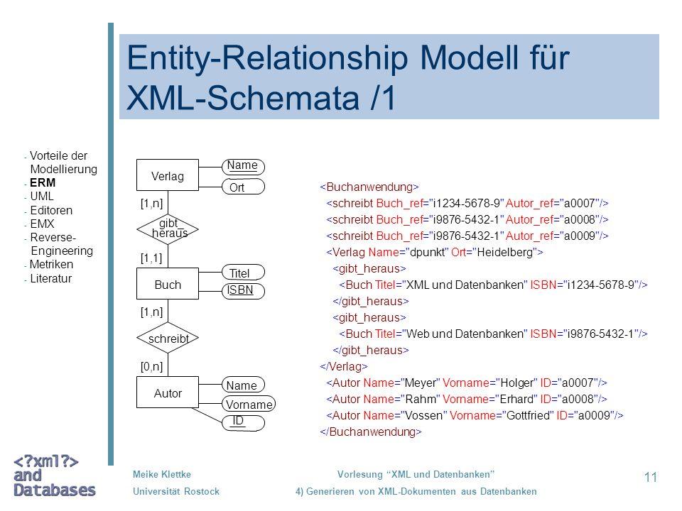 Entity-Relationship Modell für XML-Schemata /1
