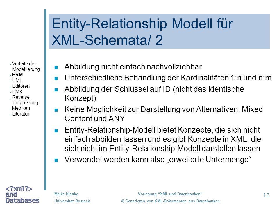 Entity-Relationship Modell für XML-Schemata/ 2